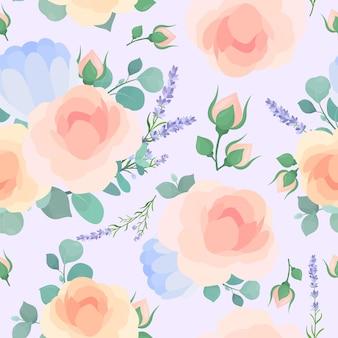 파스텔 블루 배경에 정원 꽃 장미와 모란 꽃 장식 배경 꽃 섬유