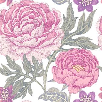 Садовые цветы пионы цветочный фон винтаж