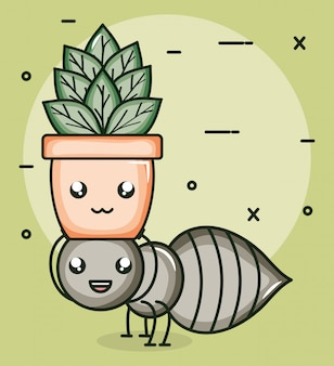 Garden flowers plant in pot with ant kawaii style