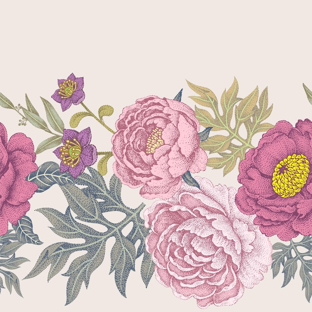 Garden flowers of roses and peonies seamless pattern vector illustration