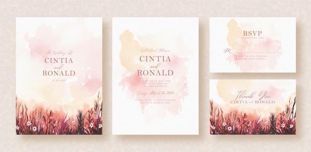 結婚式の招待状の背景に水彩画の庭の花