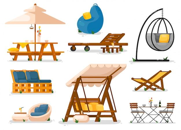 庭の家具。外の木製ガーデンスイングベンチシート、テーブル、寝椅子、吊り椅子、テーブル、お手玉椅子、ソファセット。アウトドアレジャーのための庭の庭の家具オブジェクトコレクション