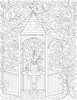 둥근 테이블 키가 큰 나무 배경 무색 선 그리기에 배치된 식물 냄비가 있는 정원 전망대