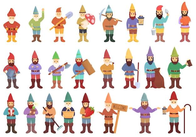 Набор иконок садовый гном. мультфильм набор векторных иконок садового гнома для веб-дизайна