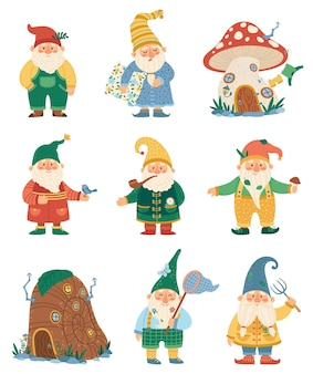 Garden gnomes fairytale dwarf elves characters and their houses set