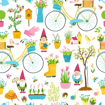 Garden gnomes seamless pattern. a collection of three cartoon cute fairy-tale characters with mushrooms and pots of flowers to decorate the yard, vegetable garden