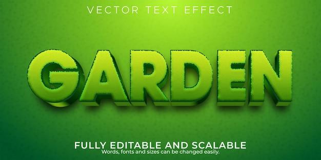 ガーデングリーンのテキスト効果、編集可能な自然と植物のテキストスタイル