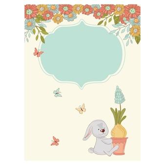 Садовая зайка поздравительная открытка на день рождения