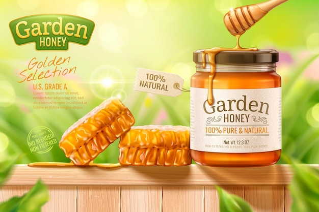 Garden honey   with dipper and hives