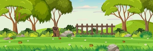 庭の水平風景シーンの背景