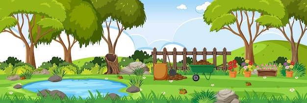 많은 원예 도구가 있는 정원 수평 풍경 장면