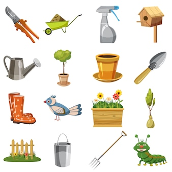 Garden icons set, cartoon style