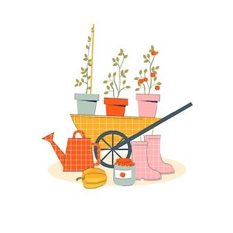 Товары для сада с тележкой, цветами и сапогами