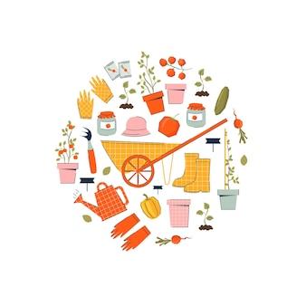 트렌디 한 스타일의 카트, 도구, 야채가있는 가든 아이템