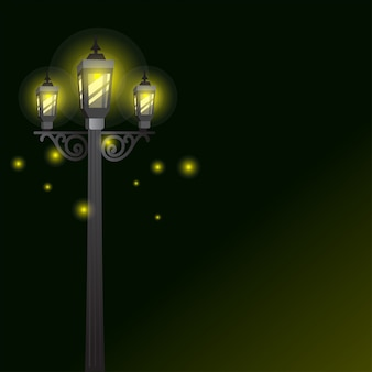Garden lamp or street lights with light effect background