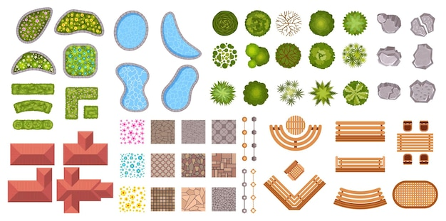 정원 조경 디자인 요소 공중 평면도입니다. 부시 울타리, 꽃, 연못, 주택 및 보도 아이콘. 벡터 세트 위의 공원 계획 지도입니다. 건축 공원의 그림, 원예 계획
