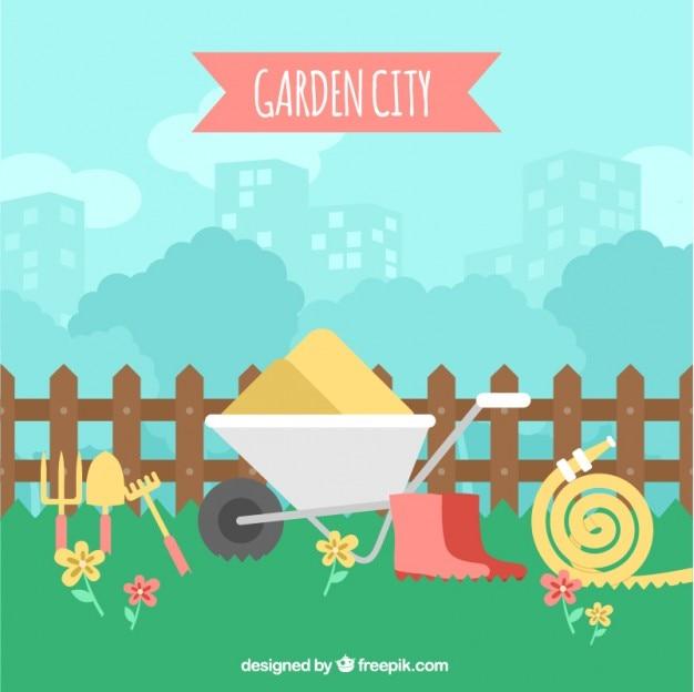 원예 도구가있는 정원 풍경