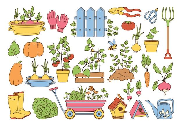 Набор мультфильм линия сада. овощи выращивают почву в горшке деревенском заборе. резиновые сапоги вилы и перчатки секатор. садовая тележка лейка для скворечников