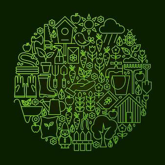 Концепция круга значок линии сада. векторная иллюстрация объектов природы и весны.