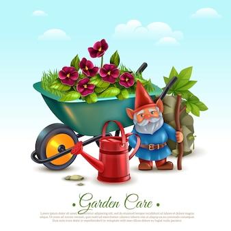 Уход за садом, классический винтажный стиль, красочная композиция с тачкой, цветущими растениями, лейкой и гномом