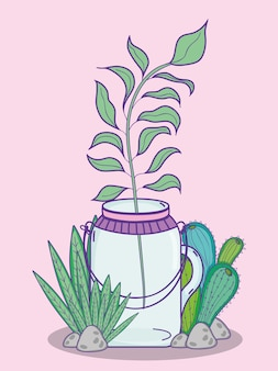 Garden mason jar cute cartoon concept