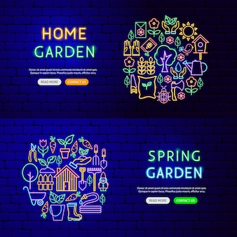 Garden nature banners. vector illustration of spring promotion.