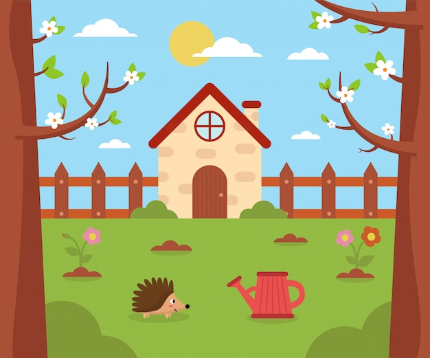 Garden and nature in spring. cartoon house outdoors.