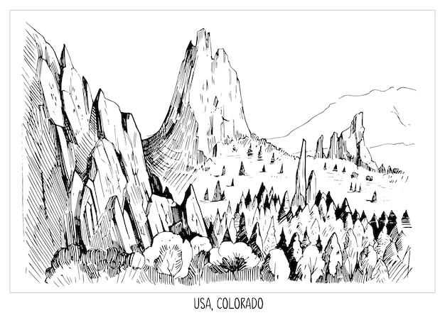 神々の庭。アメリカ、コロラド州の風景。手描きのインクスケッチ。透明な背景で分離された形状