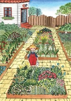 庭の有機植物庭師のわら