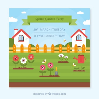 Garden party invitation design with houses
