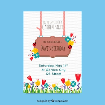 Garden party invitation design with sign
