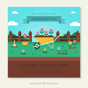 Garden party invitation design with wheelbarrow