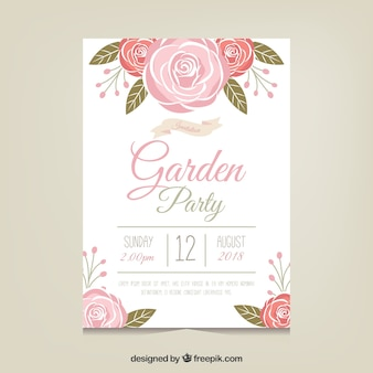 Garden party invitation template with beautiful flowers