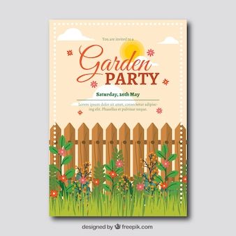 Garden party invitation template with fence and grass