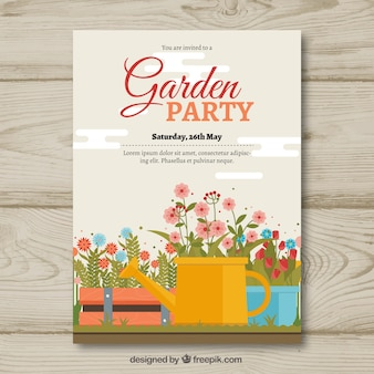 Garden party invitation template with watering can and flowers