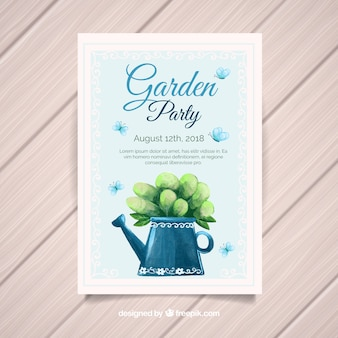 Garden party invitation template with watering can