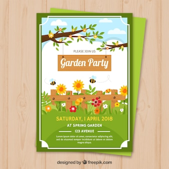 Garden party invitation with branches and flowers