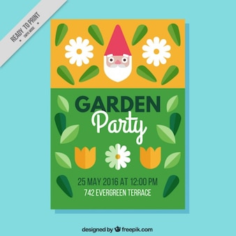Garden party invitation with gnome face