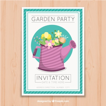 Garden party invitation with watering can