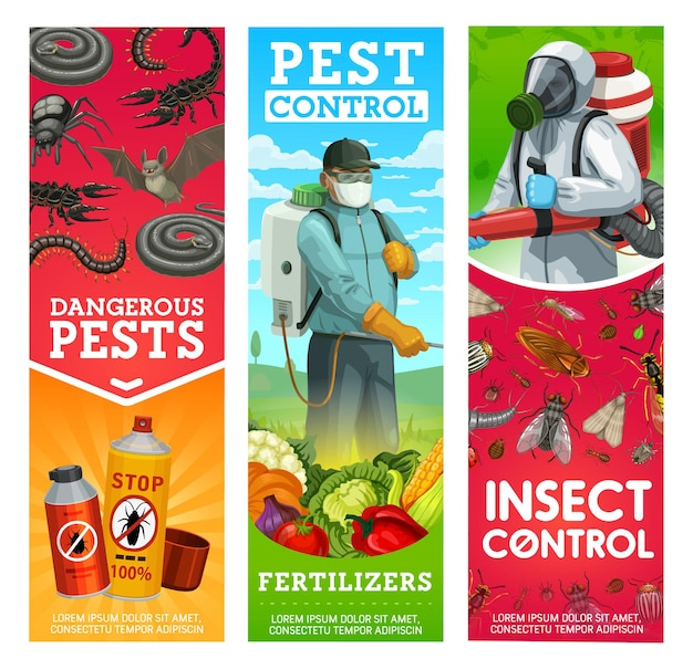 Garden pest and insects control banners. man in hazmat suit and gas mask spraying pesticide on vegetables with sprayer and fumigation machine, repellents or insecticide spray against pests