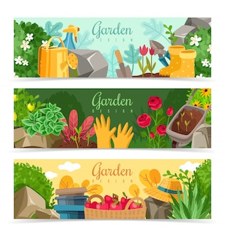 Garden plants horizontal banners set