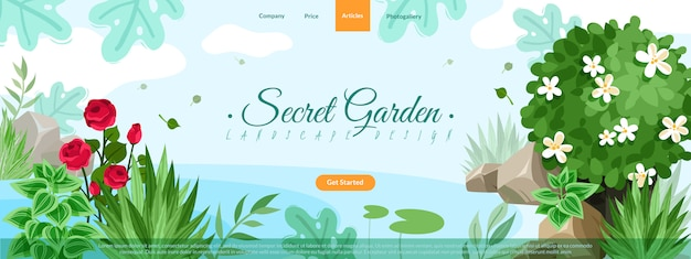 園芸植物サイトヘッダーイラスト。屋外の庭の風景の植物や石の組成の水平サイトヘッダーイラスト。庭の茂みと石のランディングページとサイトメニュー