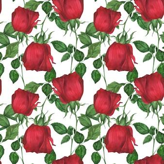 Garden red rose seamless pattern