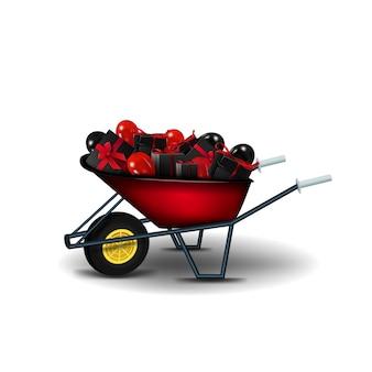 黒いプレゼントと白い背景に分離された黒と赤の風船と庭の赤い手押し車。ブラックフライデーのお祝いへのプレゼントがいっぱいの庭の手押し車