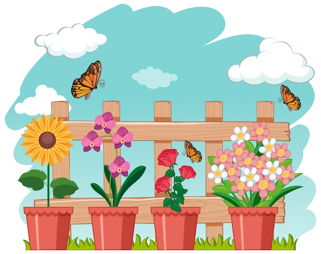 Garden scene with beautiful flowers and butterflies