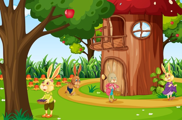 ウサギの漫画のキャラクターがたくさんいる庭のシーン