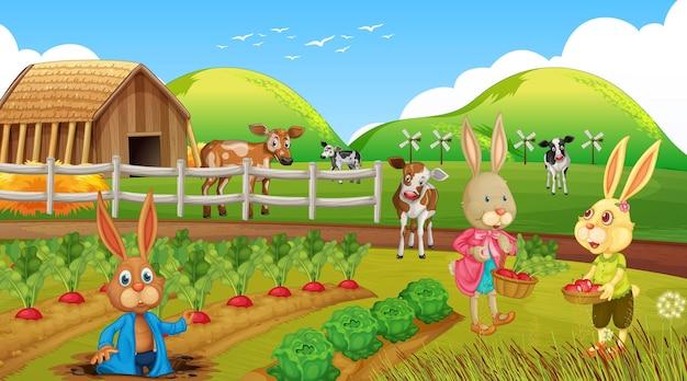 토끼 가족 만화 캐릭터와 정원 장면