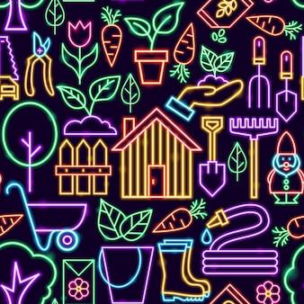 정원 완벽 한 패턴입니다. 자연 배경 벡터 일러스트 레이 션.