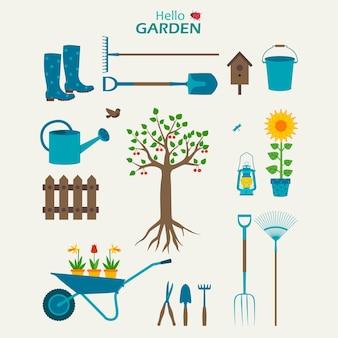 Garden set with tree