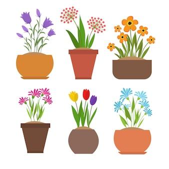 Garden spring flowers in flower pots vector set